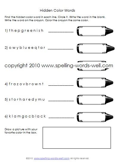 first grade homework worksheets - crayon puzzle