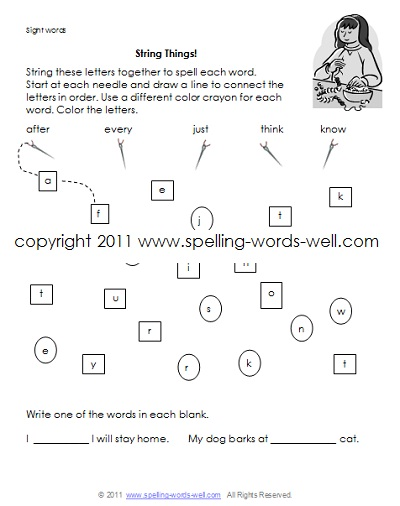 first grade homework worksheets - string things