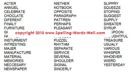 word list for free spelling worksheet word search