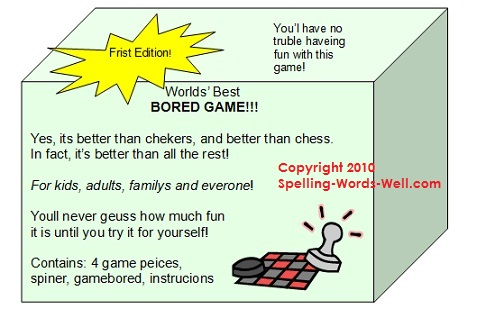 board game package with misspellings