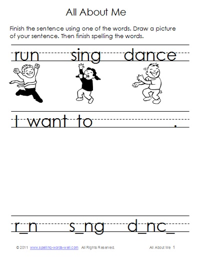 literacy worksheet - sample page