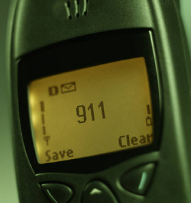 cell phone with 911 on screen