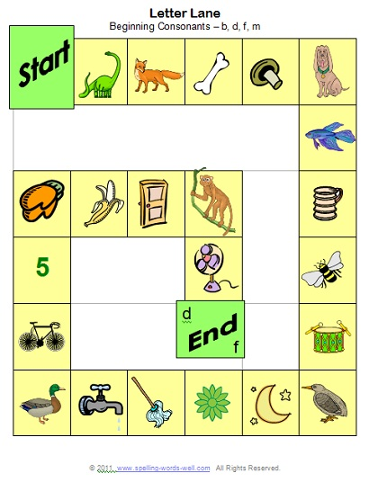 phonemic games - Letter Lane game board