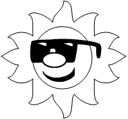 smiling sun wearing sunglasses