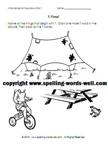 Phonics Coloring Pages - T