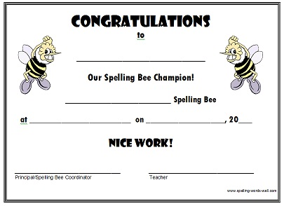 spelling bee certificate for champion