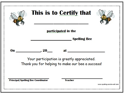 spelling bee certificate 2 for participants