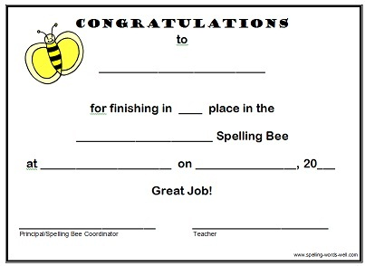 spelling bee certificate - Placed 1