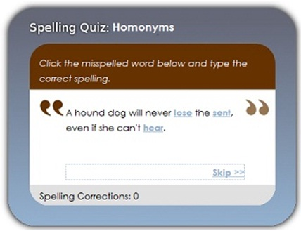 screenshot of computer spelling game