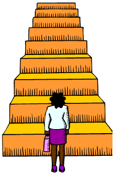 woman standing at the bottom of tall stairway looking up
