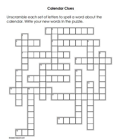 third grade worksheet - crossword puzzle