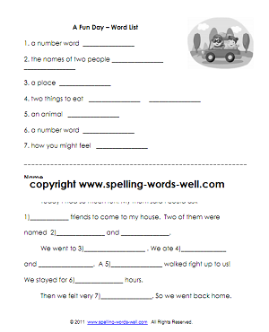 Fun Day - 1st grade reading worksheets