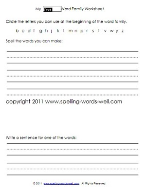 1st Grade Worksheets for Spelling & Reading Practice