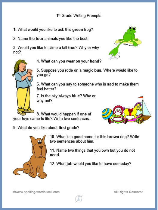 list of 1st grade writing prompts