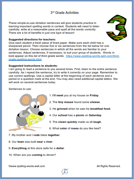 3rd grade activities for spelling dictation, from www.spelling-words-well.com