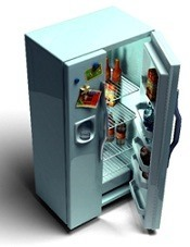 fridge with door open
