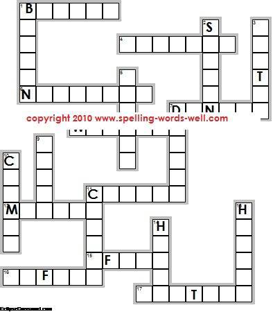 4th grade worksheets - crossword diagram