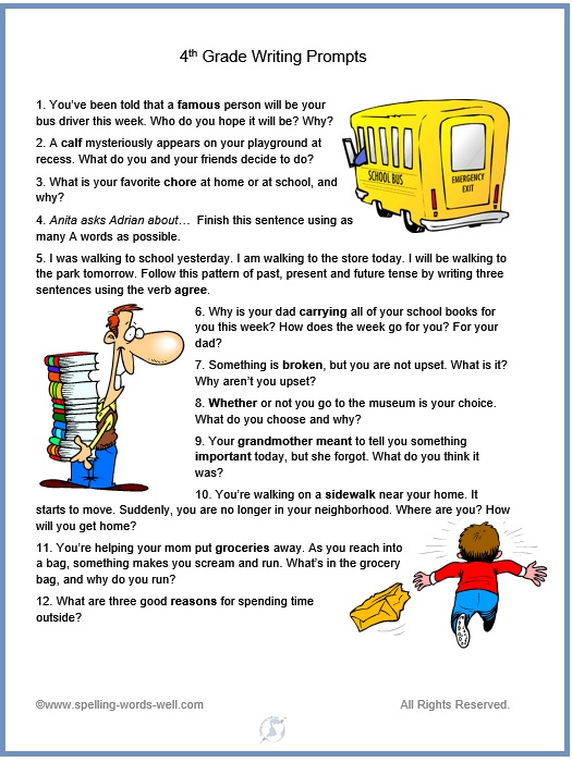 fun 4th grade writing prompts