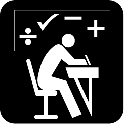 Student at desk and several math symbols