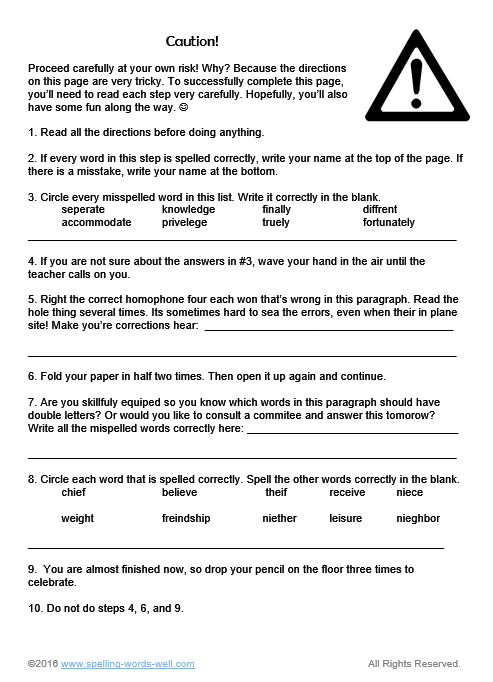 Caution! This #6thgradeworksheet requires students to carefully read and follow directions. They'll need good spelling skills, too!