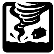 cartoon of a tornado lifting a house from the ground
