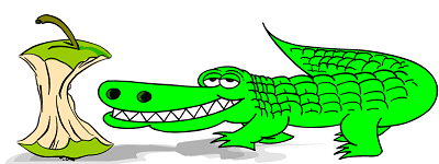 smiling green alligator looking at an apple core