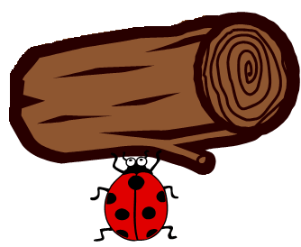 A ladybug lifting a large log