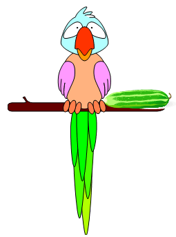 Colorful parrot on a perch with a pickle, from our ABC phonics poem