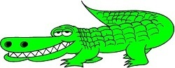 smiling green alligator