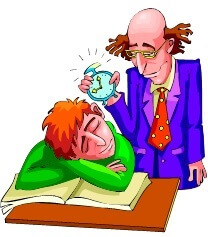 Student asleep at desk while teacher holds an alarm clock over his head