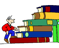 man walking up a big stack of books