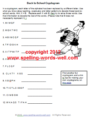 Back to school worksheets: Cryptogram Puzzle