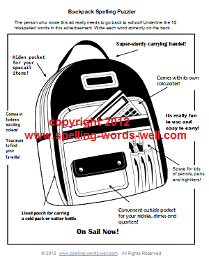 Back to school worksheet: Backpack with lots of spelling errors