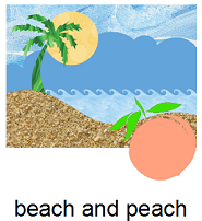 a beach and a peach