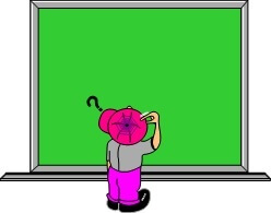Boy at chalkboard, thinking and questioning