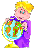Smiling boy, looking at a globe