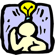 Cartoon guy thinking, with a light bulb going on over his head