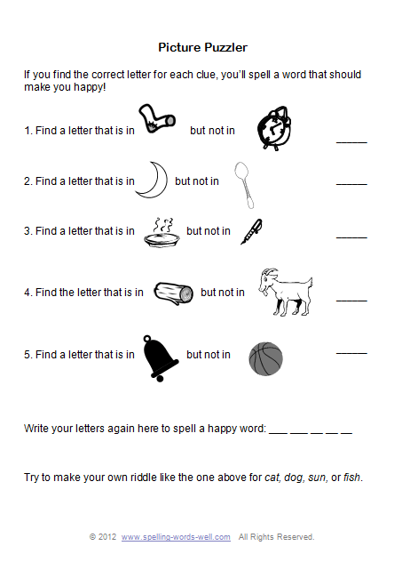 Printable Brain Teasers for Fun Spelling Practice!