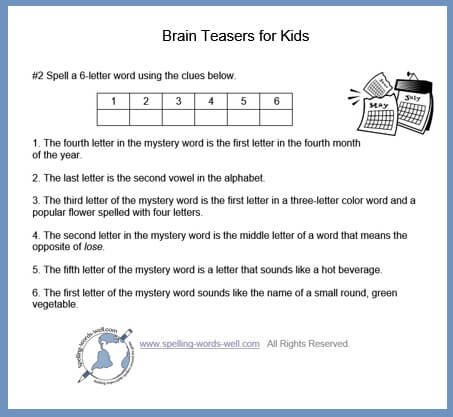 Spelling Brain Teasers for Kids