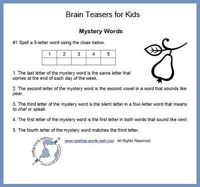 photograph about Brain Hat Printable named Spelling Head Teasers for Small children