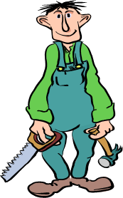 Cartoony carpenter with a hammer and a saw