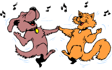 Cat and dog dancing to music, from our Easy Brain Teasers with Answers. Printable version or online version of 12 fun spelling #brainteasers available from #spellingwordswell