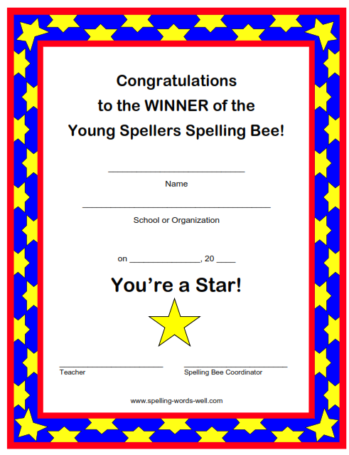 Young Spellers award certificate