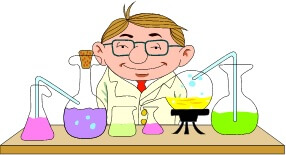 chemist with beakers