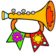 musical horn with ribbons
