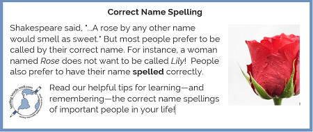 Correct name spelling graphic from www.spelling-words-well.com