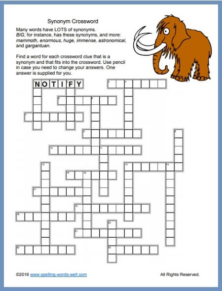 Crossword Printable Puzzle For Challenging Word Play