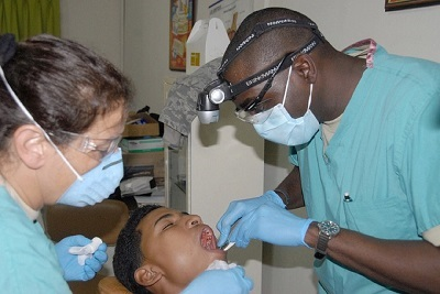 dentist working on a dental patient
