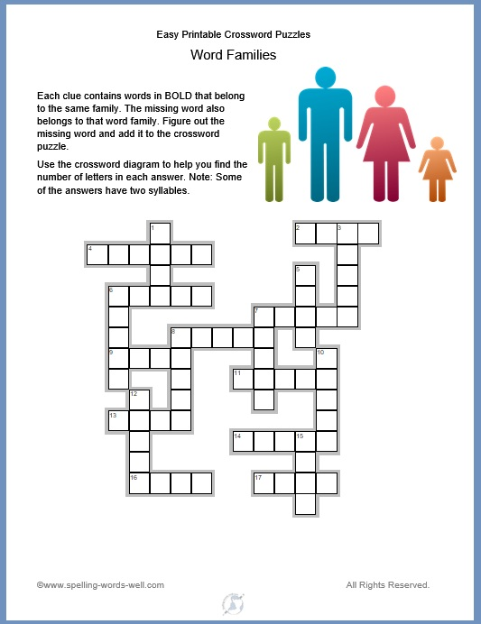 Easy printable crossword puzzles, featuring word families. From www.spelling-words-well.com