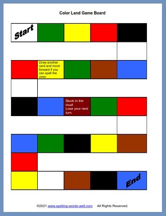 Elementary Spelling Games - Color Land Game Board